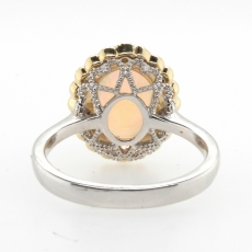2.44 Carat Ethiopian Opal And Diamond Ring In 14k White And Yellow Gold
