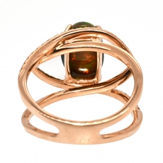 2.45 Carat Ethiopian Black Opal And Diamond Ring In 14k Rose Gold