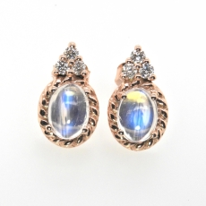 2.45 Carat Rainbow Moonstone And Diamond Stud Earring In 14k Rose Gold