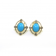 2.45 Carat Turquoise And Bezel Set Diamond Earring In 14K Yellow Gold