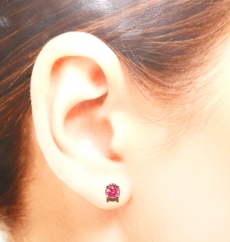 2.47 Carat Madagascar Ruby Stud Earring In 14k White Gold