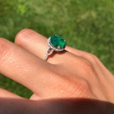 2.49 Carat Zambian Emerald And Diamond Engagement Ring In 14K White Gold