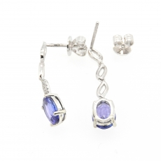 2.50 Carat Tanzanite And Diamond Earring In 14k White Gold