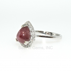 2.52 Carat Star Ruby And Diamond Ring In 14k White Gold