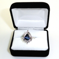 2.53 Carat Blue Sapphire And Diamond Ring In 14k White Gold