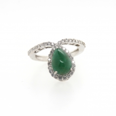2.54 Carat Emerald And Diamond Ring In 14k White Gold