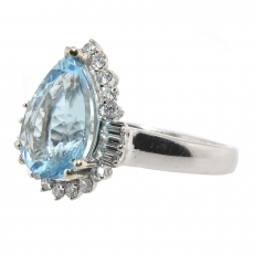 2.56 Carat Aquamarine And Diamond Ring In 14k White Gold