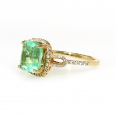 2.57 Carat Colombian Emerald And Diamond Ring In 14k Yellow Gold