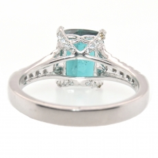 2.59 Carat Indicolite Tourmaline And Diamond Ring In 14k White Gold