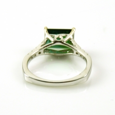 2.62 Carat Green Tourmaline And Diamond Ring In 14k White Gold