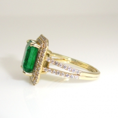 2.62 Carat Zambian Emerald And Diamond Engagement Ring In 14K Yellow Gold