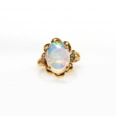 2.65 Carat Australian Opal And Diamond Ring In 18k Yellow Gold