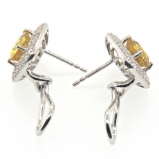 2.68 Carat Yellow Sapphire and Diamond Stud Earring In 14k White Gold