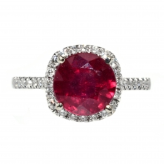 2.70 Carat Madagascar Ruby And Diamond Ring In 14k White Gold