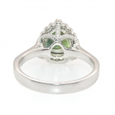 2.76 Carat Green Sapphire And Diamond Ring In 14k White Gold