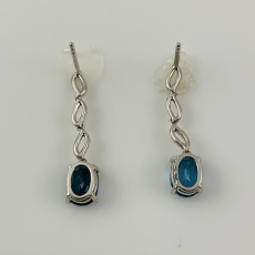 2.80 Carat Blue Topaz And Diamond Earring In 14k White Gold
