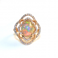 2.84 Carat Ethiopian Opal And Diamond Ring In 14k Rose Gold