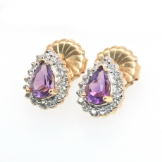 2.85 Carat Amethyst And Diamond Stud Earring In 14k Rose Gold