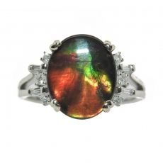 2.85 Carat Fossilized Mineral Organic Gemstone Ammolite And Diamond Ring In 14k White Gold