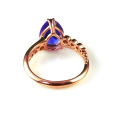 2.87 Carat Tanzanite And Diamond Ring In 14k Rose Gold