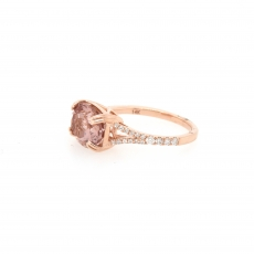 2.89 Carat Pink Morganite And Diamond Ring In 14k Rose Gold