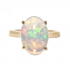 2.97 Carat Ethiopian Opal Ring In 14k Yellow Gold