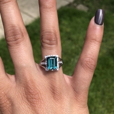 2.97 Carat Indicolite Tourmaline And Diamond Ring In 14k White Gold