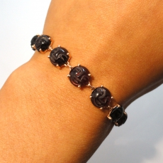 30 Carat Garnet Faces Cabs Link Bracelet In 14k Rose Gold