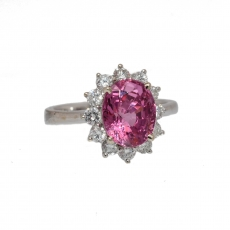 3.02 carat pink spinel and diamond ring in 14k white gold