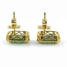 3.04 Carat Green Tourmaline And Diamond Earring In 14k Yellow Gold (online Exclusive)
