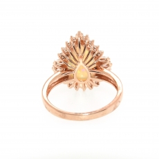 3.09 Carat Ethiopian Opal And Diamond Ring In 14k Rose Gold
