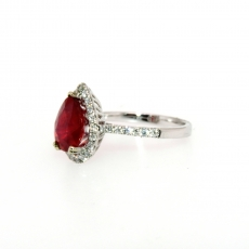 3.09 Carat Madagascar Ruby  And Diamond Ring In 14k White Gold