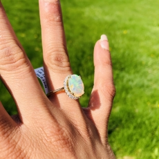 3.12 Carat Ethiopian Opal And Diamond Ring In 14k Yellow Gold