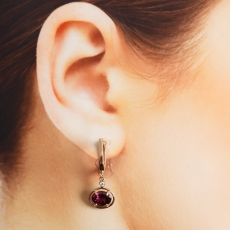 3.14 Carat Raspberry Garnet And Diamond Earring In 14k Rose Gold