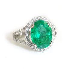 3.18 Carat Zambian Emerald And Diamond Engagement Ring In 14K White Gold