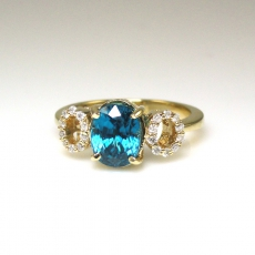 3.23 Carat Blue Zircon And Diamond Ring In 14k Green Gold