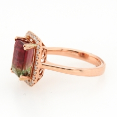 3.29 Carat Watermelon Tourmaline And Diamond Ring In 14k Rose Gold