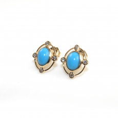 3.33 Carat Turquoise And Diamond Earring In 14k Yellow Gold