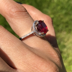 3.35 Carat Madagascar Ruby  And Diamond Ring In 14k White Gold