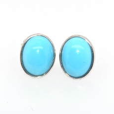 3.37 Carat Turquoise Stud Earring In 14k White Gold