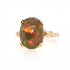 3.38 Carat Ethiopian Black Opal And Diamond  Ring In 14k Yellow Gold