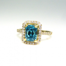 3.39 Carat Blue Zircon And  Diamond In 14k Yellow Gold