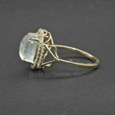 3.39 Carat Rainbow moonstone & Diamond Ring In 14K Yellow Gold