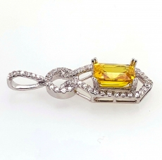 3.40 Carat  Yellow Sapphire  & Diamond Pendant In 14k White Gold