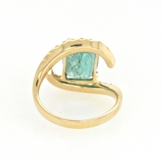 3.45 Carat Zambian Emerald And Diamond Ring In 14k Yellow Gold