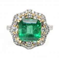3.46 Carat Zambian Emerald And Diamond Ring In 14K White Gold