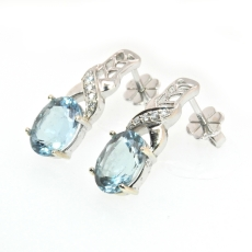 3.72 Carat Aquamarine And Diamond Earring In 14k White Gold