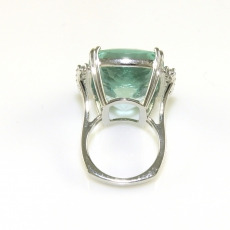 37.43 Carat AAA Quality Natural Aquamarine and Diamond Ring In 14K White Gold