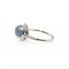3.78 Carat Natural Star Sapphire And Diamond Ring In 14k White Gold