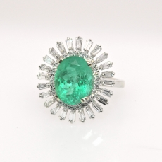 3.79 Colombian Emerald & Diamond Ring In 14k White Gold